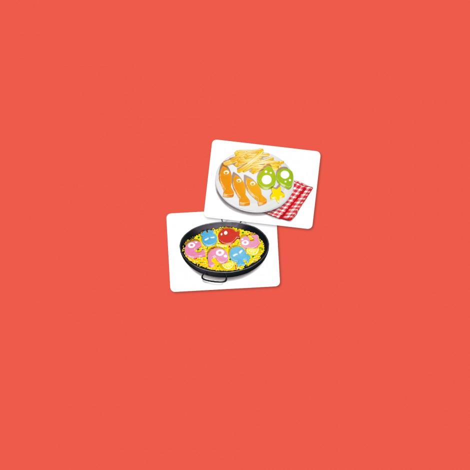 2 cartes pour Sushi Dice: Paella & frites