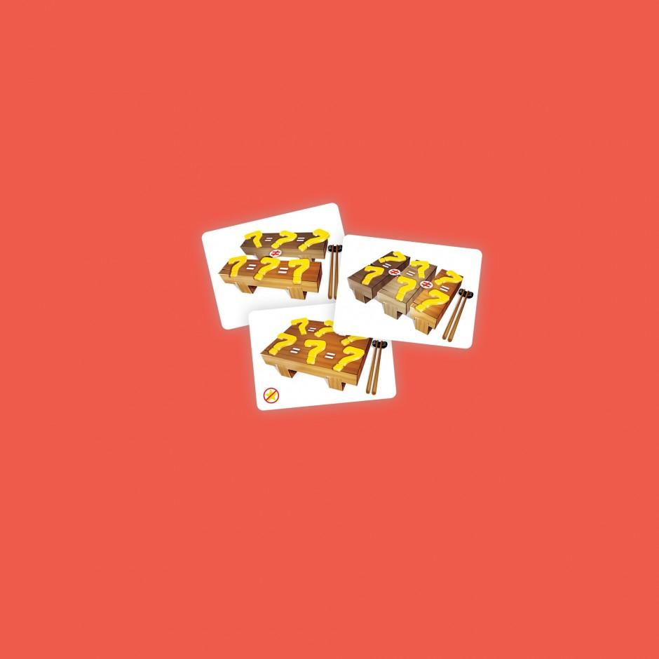 3 cartes pour Sushi Dice: 2 brelans différents, 3 paires, 2 brelans sans joker.