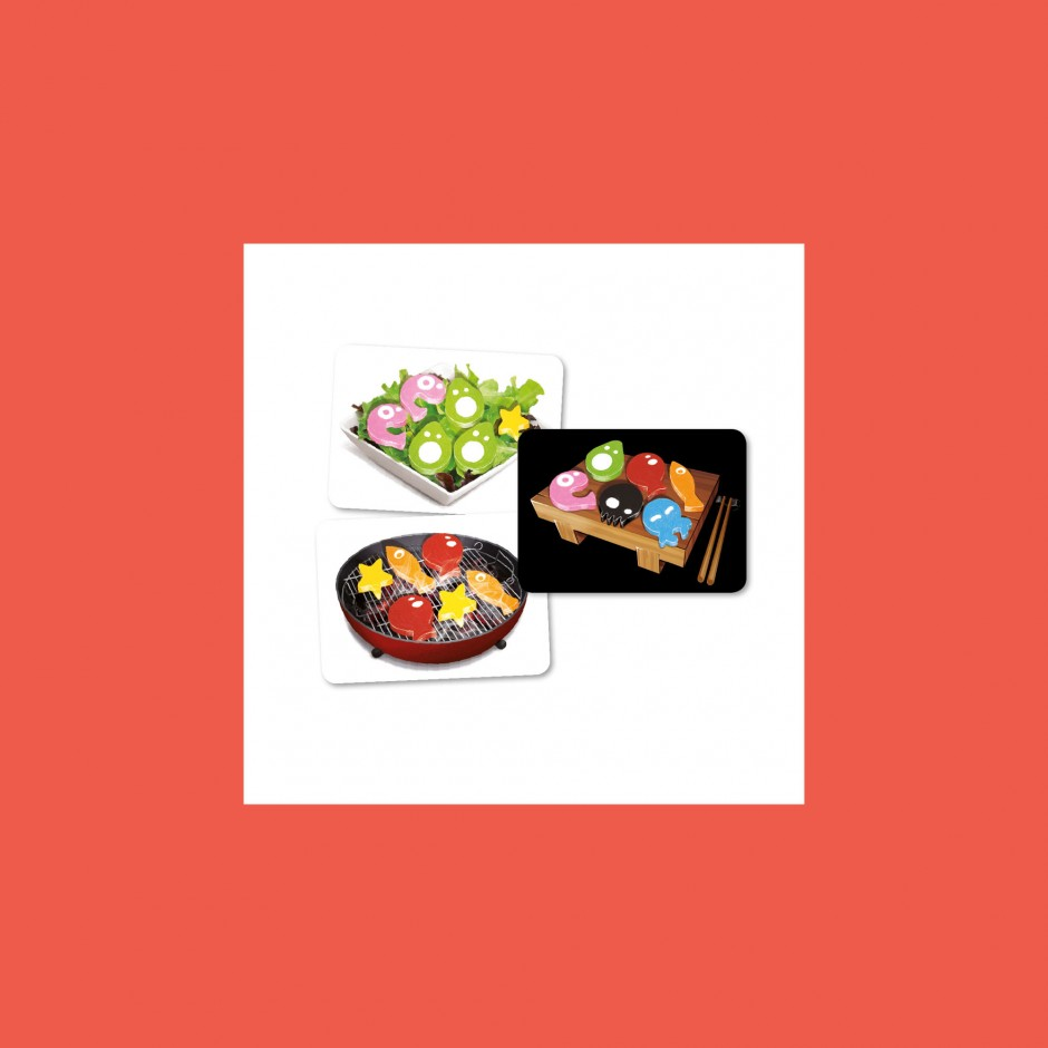 3 cards for Sushi Dice: Barbecue, salad & Yuck!