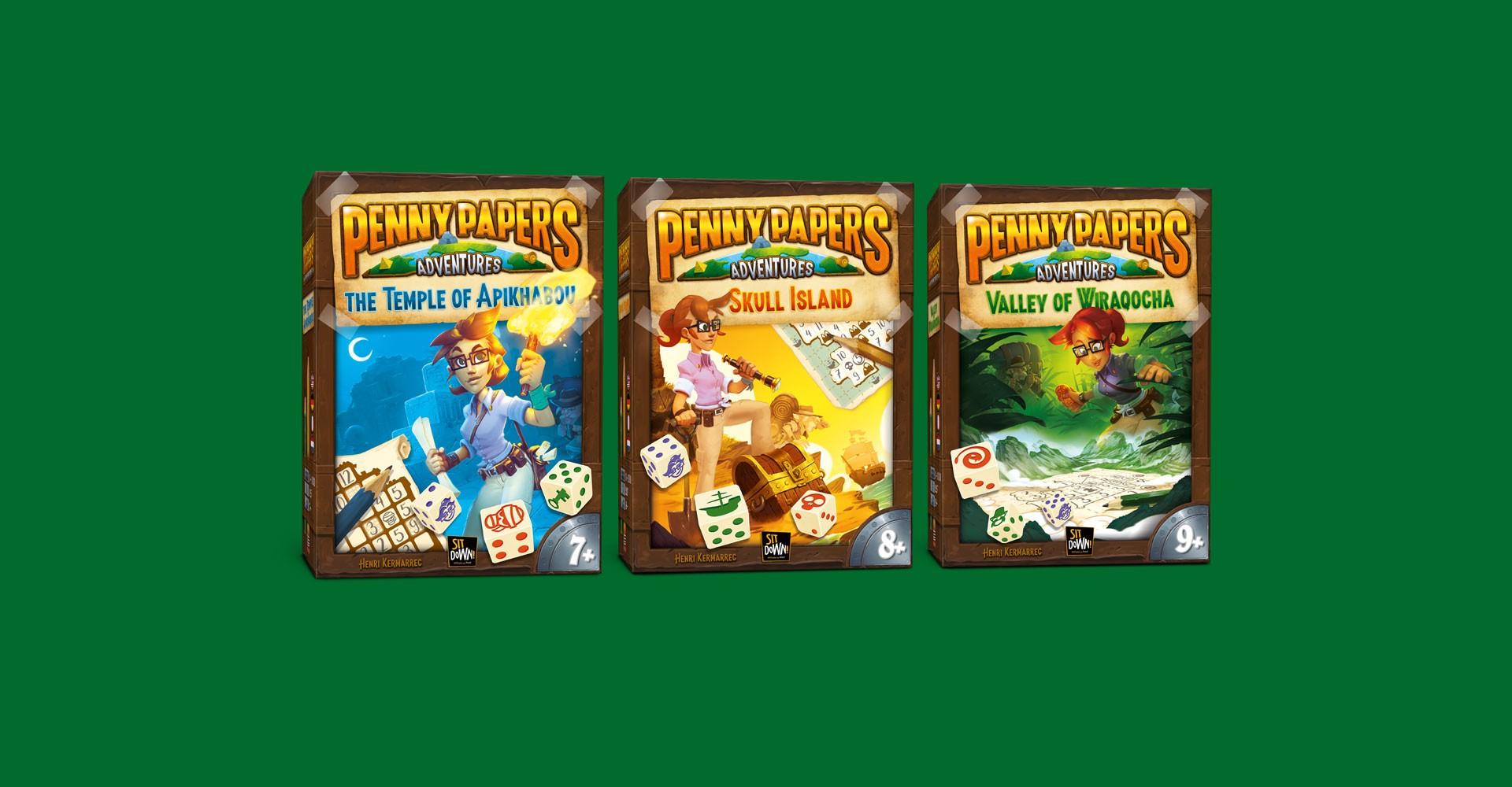 Les trois boîtes de la gamme Penny Papers Adventures